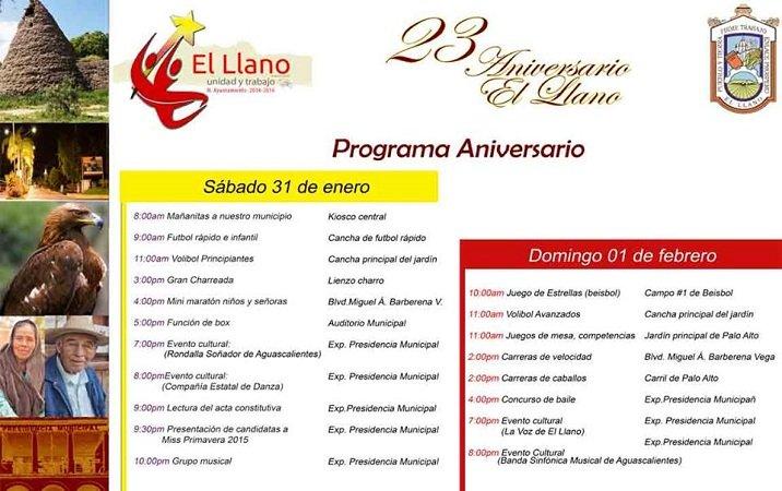 Programa de Actividades por el 23° Aniversario del municipio de El Llano