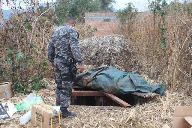 ¡Aseguran contenedor con mercancía robada enterrado en un predio de Poncitlán, Jal.!