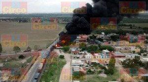 Explota pipa con gasolina al ser alcanzada por el tren en Aguascalientes_02