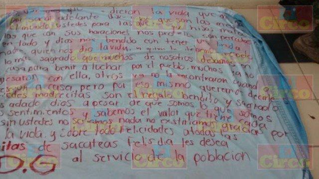 El Cártel del Golfo felicitó a las madres en su día en Zacatecas con una narco-manta