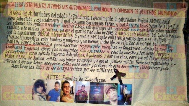 ¡El Ejército Mexicano, encubierto por el Gobierno Estatal, desapareció a 7 personas en Calera, Zacatecas!