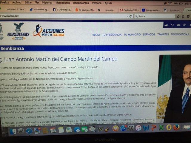 """¡Funcionario de MuniAgs promueve como """"próximo gobernador"""" a JAMC en la página web del Ayto.!"""