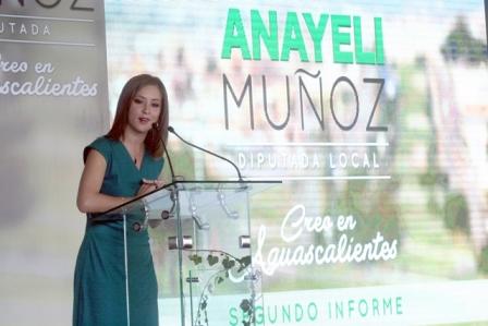 Lo asegura en su Segundo Informe Legislativo… ¡Anayeli Muñoz Moreno cree en un Aguascalientes justo, verde y equitativo!