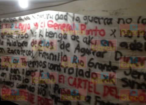 ¡Amenaza grupo delictivo con narcomanta a jefes policíacos de Zacatecas!