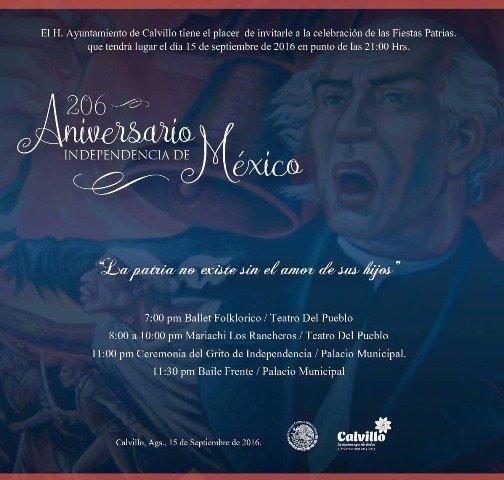 ¡Javier Luévano Núñez invita a celebrar las Fiestas Patrias en Calvillo!