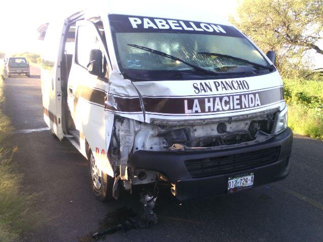 ¡Combi de pasajeros impactó y mató a una yegua en Aguascalientes!
