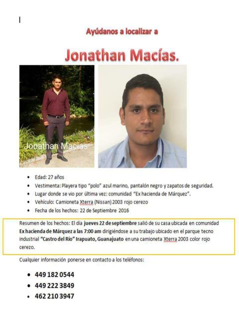 ¡Joven originario de Aguascalientes desapareció en Irapuato!