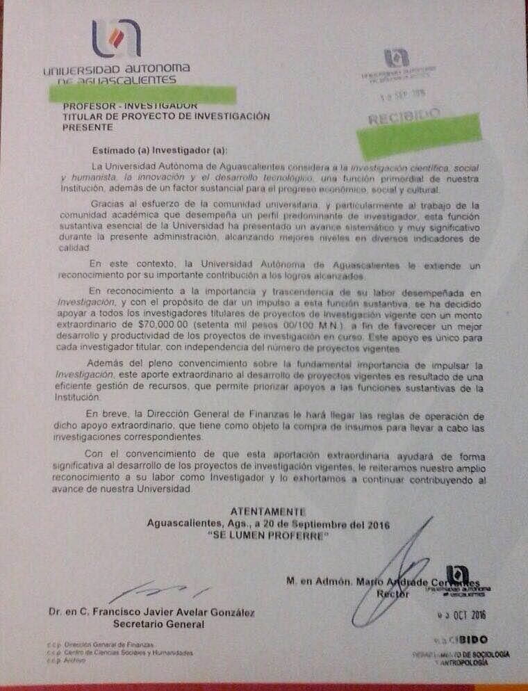 ¡Autoridades universitarias en Aguascalientes quieren comprar a sus investigadores: 70 mil pesos para cada uno de ellos!