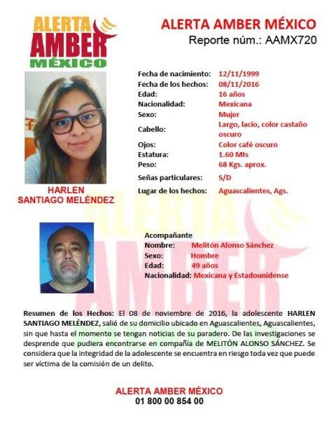 ¡Activaron Alerta Amber a nivel nacional por la desaparición de una jovencita en Aguascalientes!