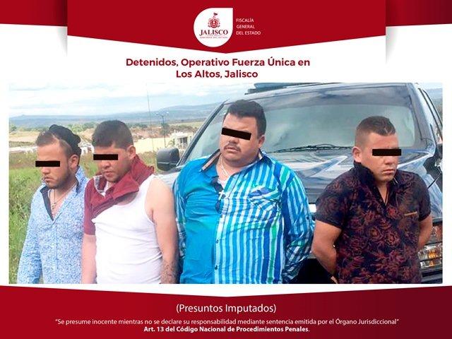 ¡La Fuerza Única Regional detuvo a 4 integrantes de un grupo delictivo que opera en Los Altos, Jalisco!