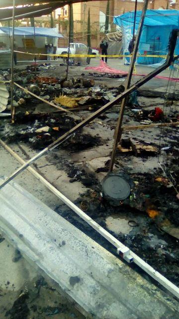 ¡Incendio acabó con varios puestos del Mercado de San Felipe en Aguascalientes!