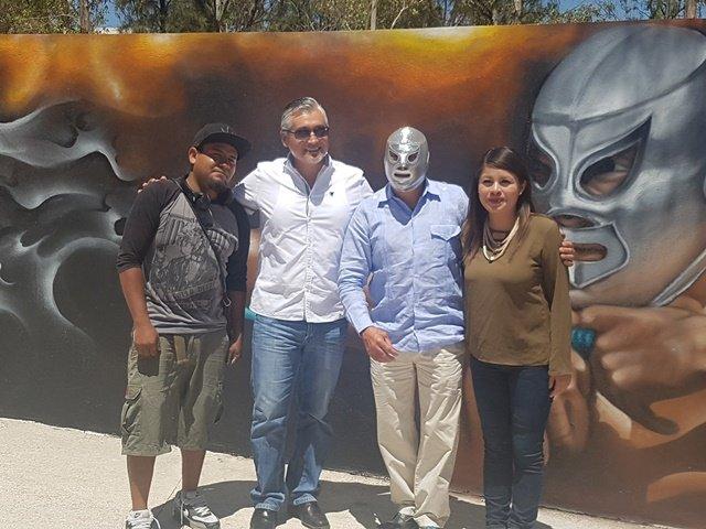 ¡La Secretaría de la Juventud de Aguascalientes inauguró el mural en honor al Santo y al Hijo del Santo!