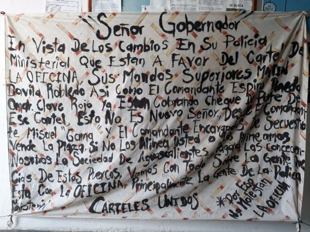 "¡""Cárteles Unidos"" acusa a policías ministeriales de proteger a ""La Oficina"" en Aguascalientes!"