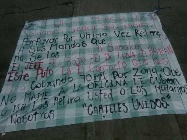¡Aparecieron otras dos narco-mantas en Aguascalientes!