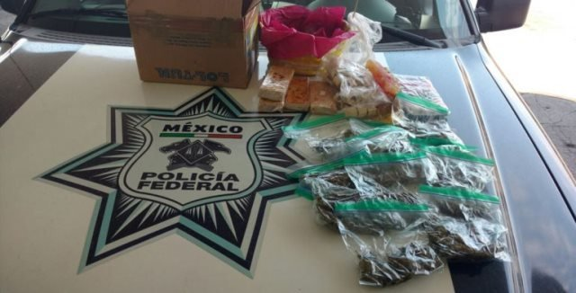 ¡Policías federales aseguraron droga oculta en una canasta con dulces en Aguascalientes!