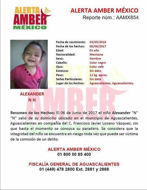 ¡Activan Alerta Amber por desaparición de un niño de 1 año de edad en Aguascalientes!