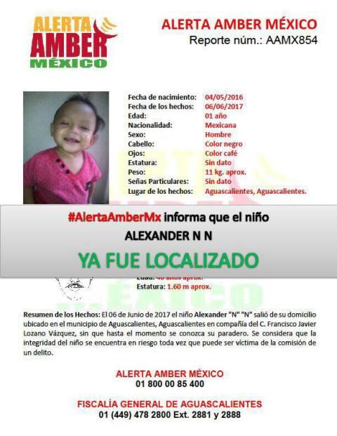 ¡Localizaron en Chihuahua a un niño de 1 año de edad desaparecido en Aguascalientes!