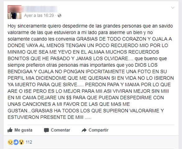 ¡Hombre se quitó la vida en Aguascalientes tras anunciarlo en Facebook!