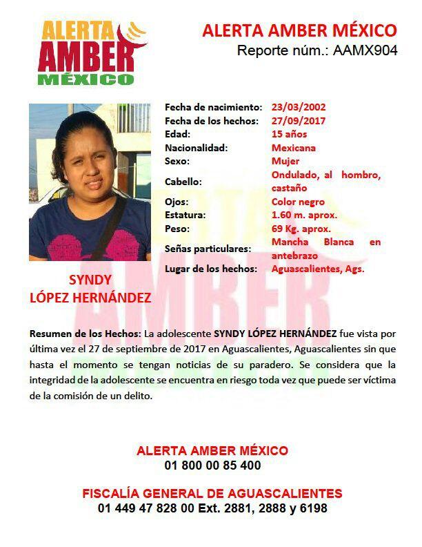 ¡Quinceañera desapareció en Aguascalientes y se activó la Alerta Amber!
