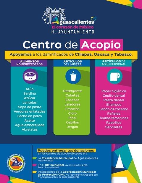 ¡Municipio abre Centro de Acopio para damnificados por sismo!
