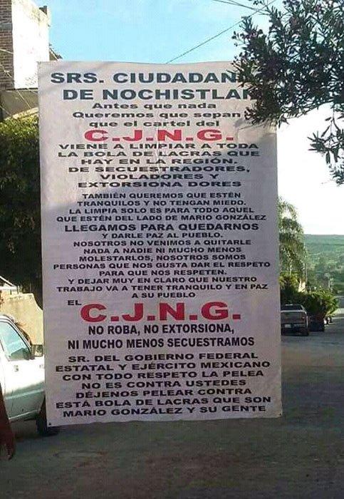 """¡El CJNG llegó a """"limpiar"""" Nochistlán, Zacatecas, de las lacras, anuncia en narco-manta!"""