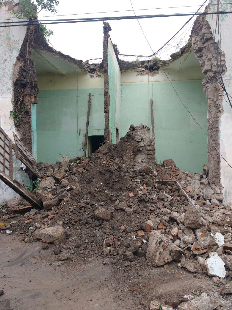 ¡Se derrumba parte de una casa en José María Chávez en Aguascalientes!