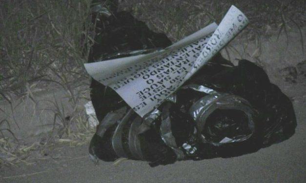 ¡Hallaron a un ejecutado-embolsado en Aguascalientes con un narco-mensaje!