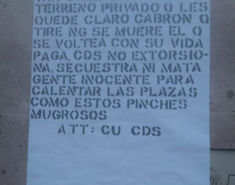 ¡Localizaron una narco-manta del CU y CDS en un puente peatonal en Calvillo, Aguascalientes!