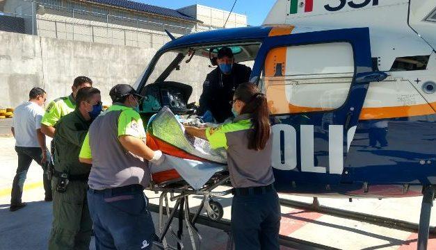 ¡Grave militar atropellado en Aguascalientes y en el helicóptero de la SSPE lo trasladaron a la Ciudad de México!
