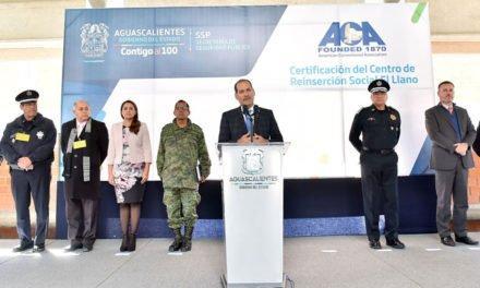¡Presenta el Gobernador del Estado certificacaón del CERESO de El Llano otorgada por la ACA!