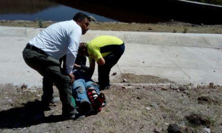 ¡Sufrió una caída de la cortina de la presa Chichimeco en Aguascalientes y resultó lesionado!