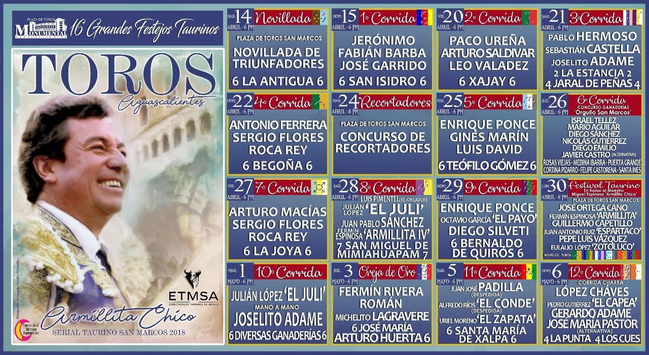 Presentan el Serial Taurino San Marcos Aguascalientes 2018