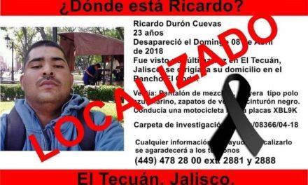 ¡Aguascalentense desaparecido fue hallado muerto en El Tecuán, Jalisco!