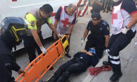 ¡3 policías municipales casi mueren en el cumplimiento de su deber en Aguascalientes!