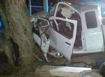 ¡Camioneta chocó contra un árbol en Aguascalientes y padre e hijo resultaron lesionados!
