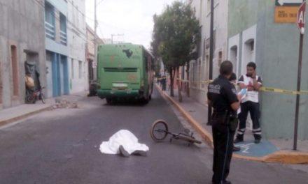 ¡Urbanero arrolló y mató a un ciclista en la Zona Centro de Aguascalientes!