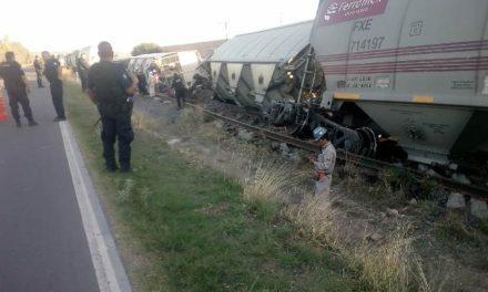 ¡Se descarrilaron 5 vagones del tren en Aguascalientes!