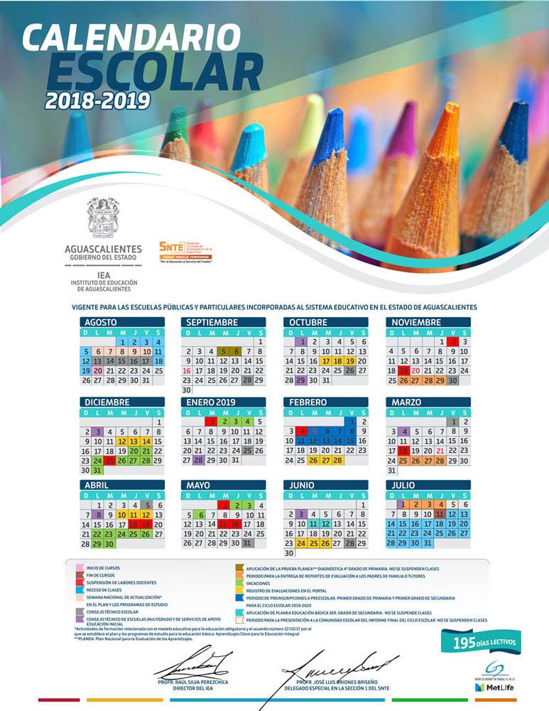 ¡Publican calendario escolar 2018-2019 para escuelas de educación básica y normales de Aguascalientes!