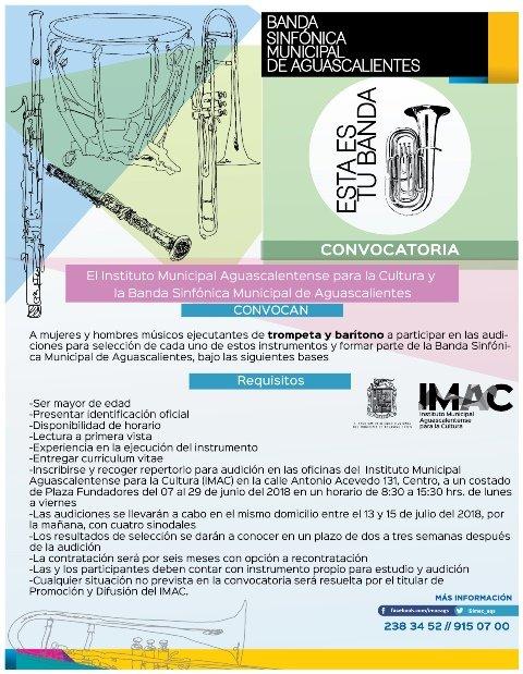 ¡IMAC convoca a músicos que quieran formar parte de la Banda Sinfónica Municipal!