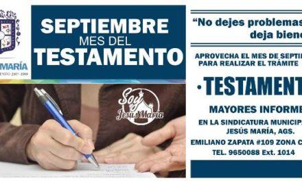"""¡El Ayuntamiento de Jesús María se suma a la campaña """"Septiembre, mes del Testamento""""!"""