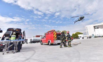 ¡Menor grave por caída de motocicleta en Asientos fue trasladado a Aguascalientes en el helicóptero Halcón 1 de la SSPM!