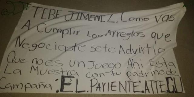 ¡Dejaron una narco-manta en contra de la alcaldesa Tere Jiménez en Aguascalientes!
