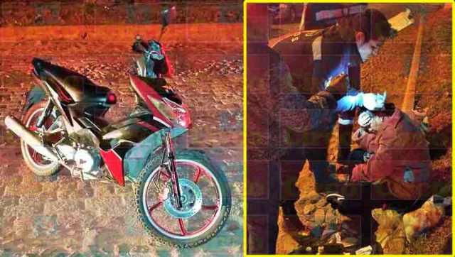 ¡Mujer lesionada tras caer de una motocicleta por un bache en Lagos de Moreno!