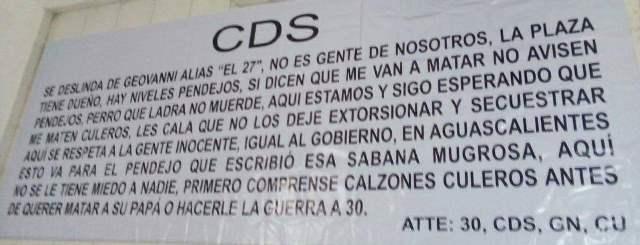 ¡Aparecieron otras narco-mantas en Aguascalientes!
