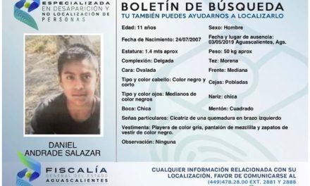 ¡Activan búsqueda por la desaparición de un niño de 11 años de edad en Aguascalientes!