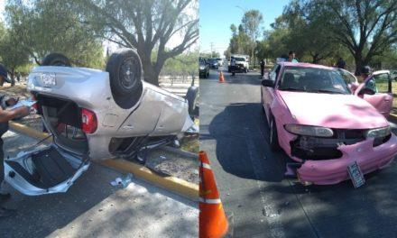 ¡Otro choque-volcadura entre 2 automóviles en Aguascalientes!