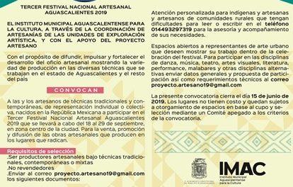 ¡Convocatoria para el Tercer Festival Nacional Artesanal Aguascalientes 2019!