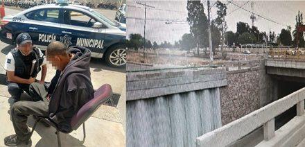 ¡Policías municipales de Aguascalientes rescataron a hombre que quería arrojarse de un puente para matarse!
