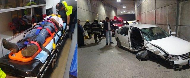 ¡Otro fuerte accidente en el distribuidor vial de Aguascalientes dejó 6 jóvenes lesionados!