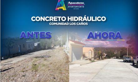 ¡Entrega Tere Jiménez pavimentación con concreto hidráulico en Los Caños!